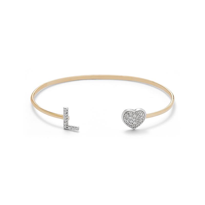 Diamond Initial Cuff Bracelet