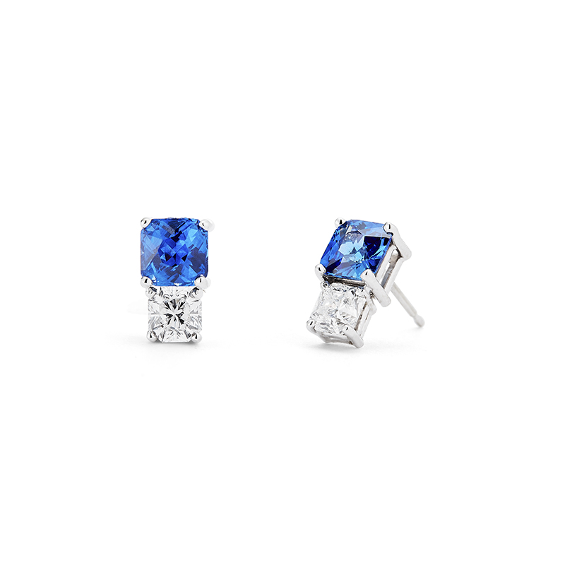 Radiant Cut Sapphire and Diamond Earrings