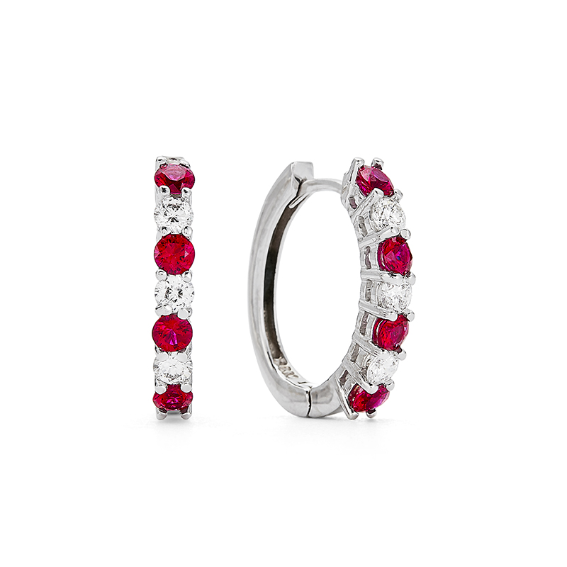 Ruby Hoop Earrings