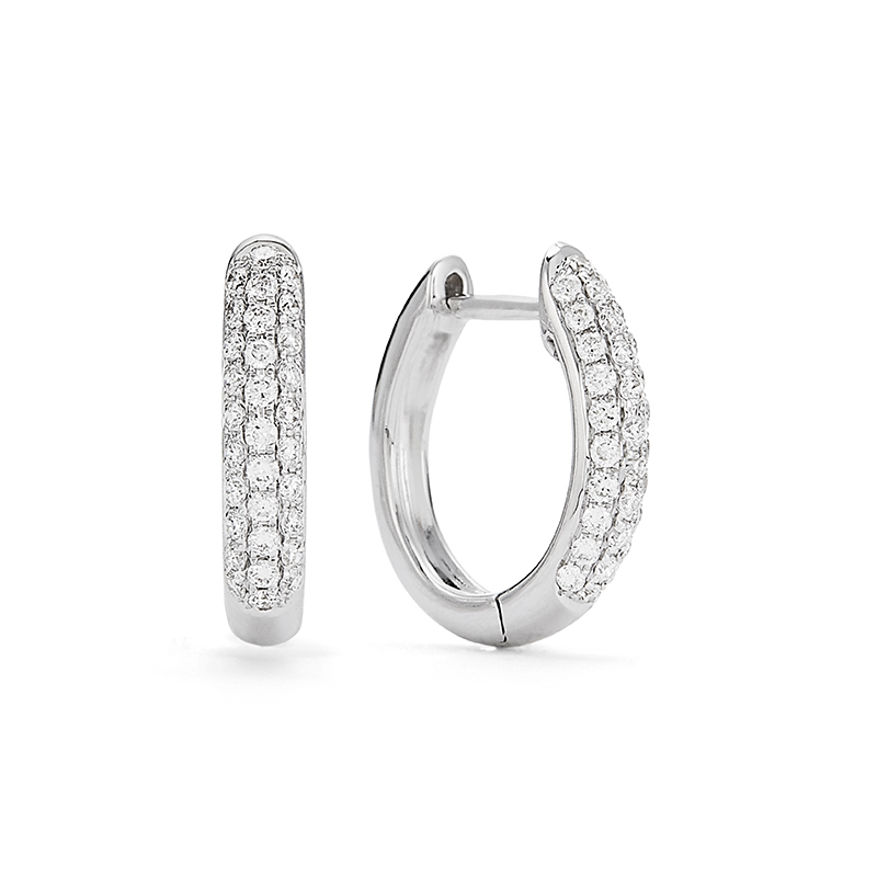 Pavé Diamond Hoop Earrings