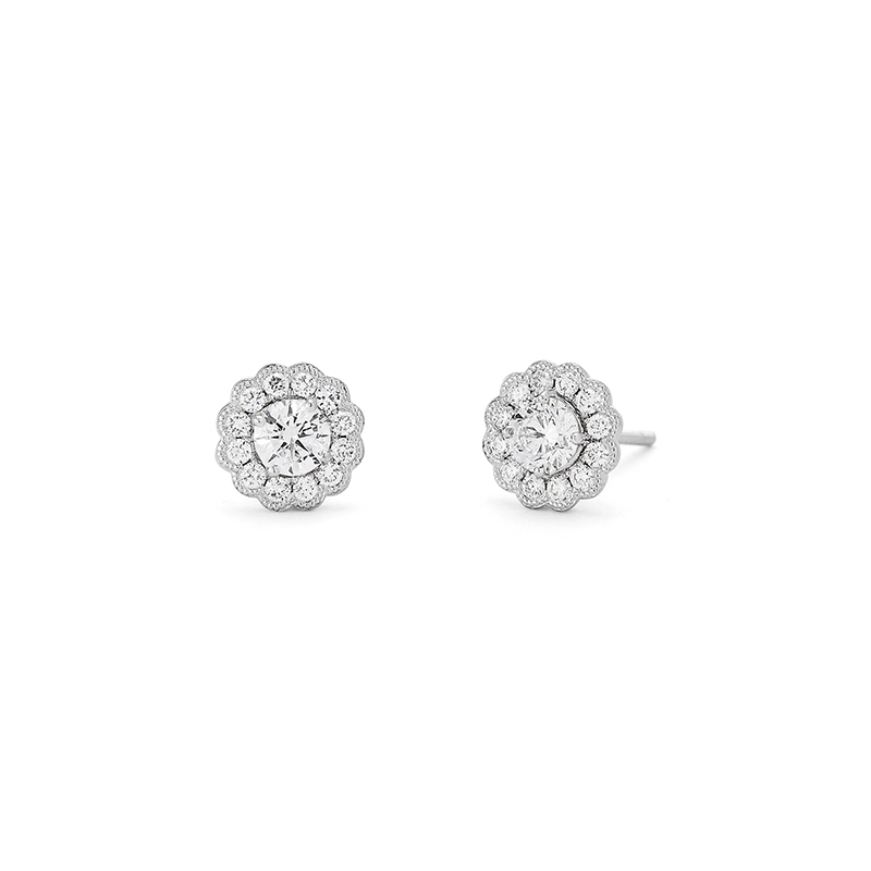 Diamond Milgrain Earrings