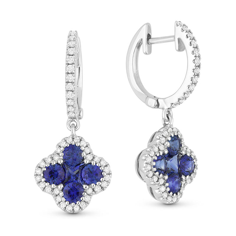 Sapphire Quatrefoil Dangle Earrings