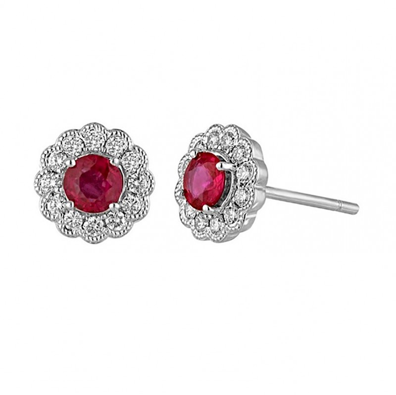 Ruby Milgrain Halo Earrings