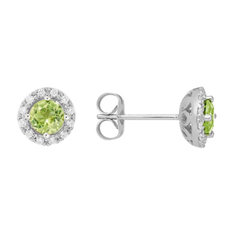 Peridot Halo Stud Earrings