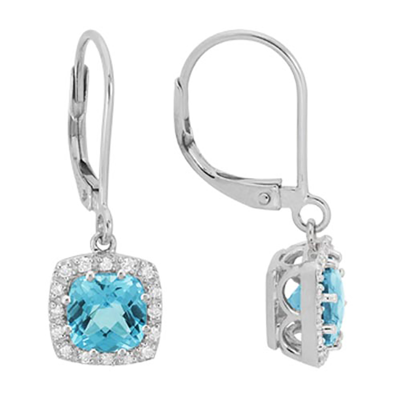 Blue Topaz Lever Back Earrings