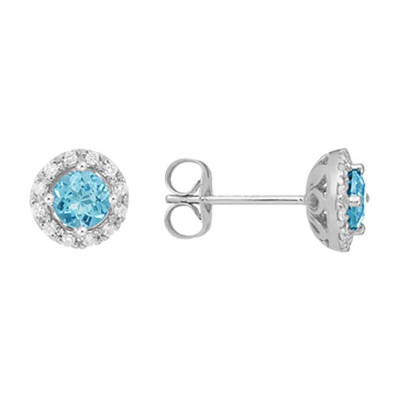 Blue Topaz Diamond Halo Earrings