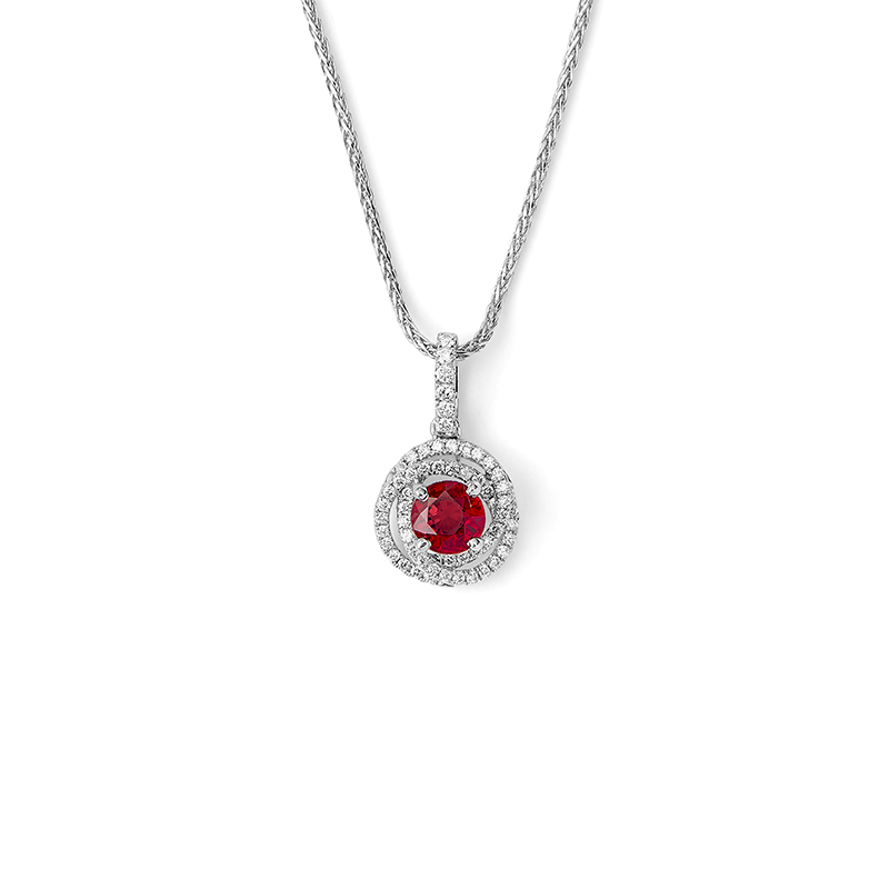 Ruby Interlocking Halo Pendant