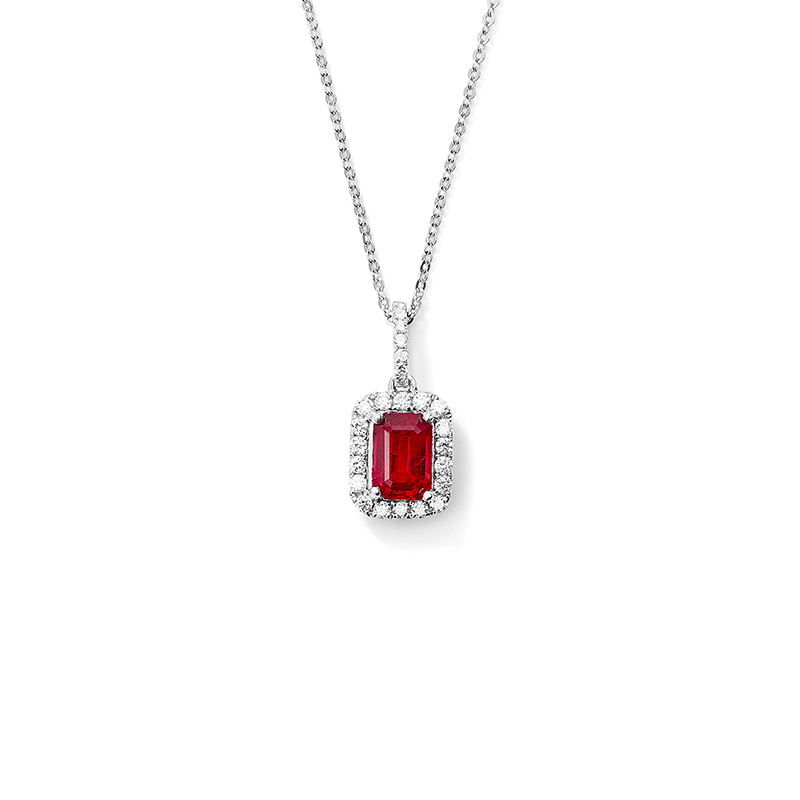 Emerald Cut Ruby Pendant