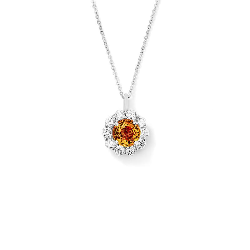 Orange sapphire pendant leo alfred jewelers orange sapphire pendant aloadofball Image collections