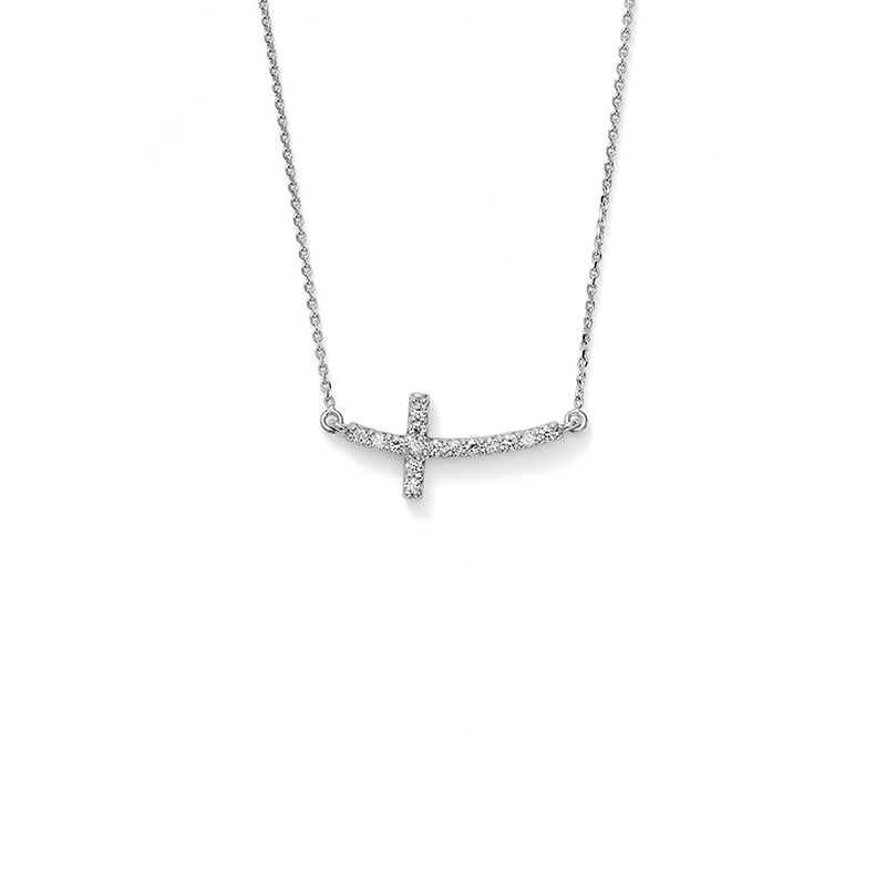 Horizontal Diamond Cross Necklace