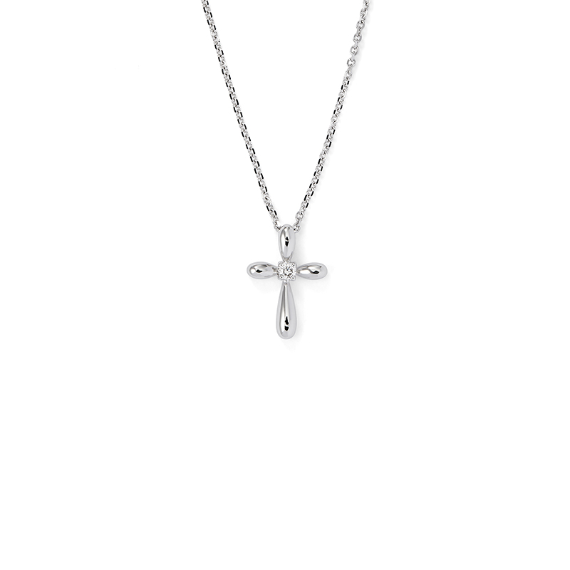 Diamond Bubble Cross Pendant