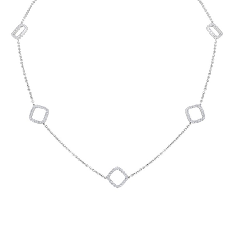 Diamond Cushion Shape Spaced Necklace