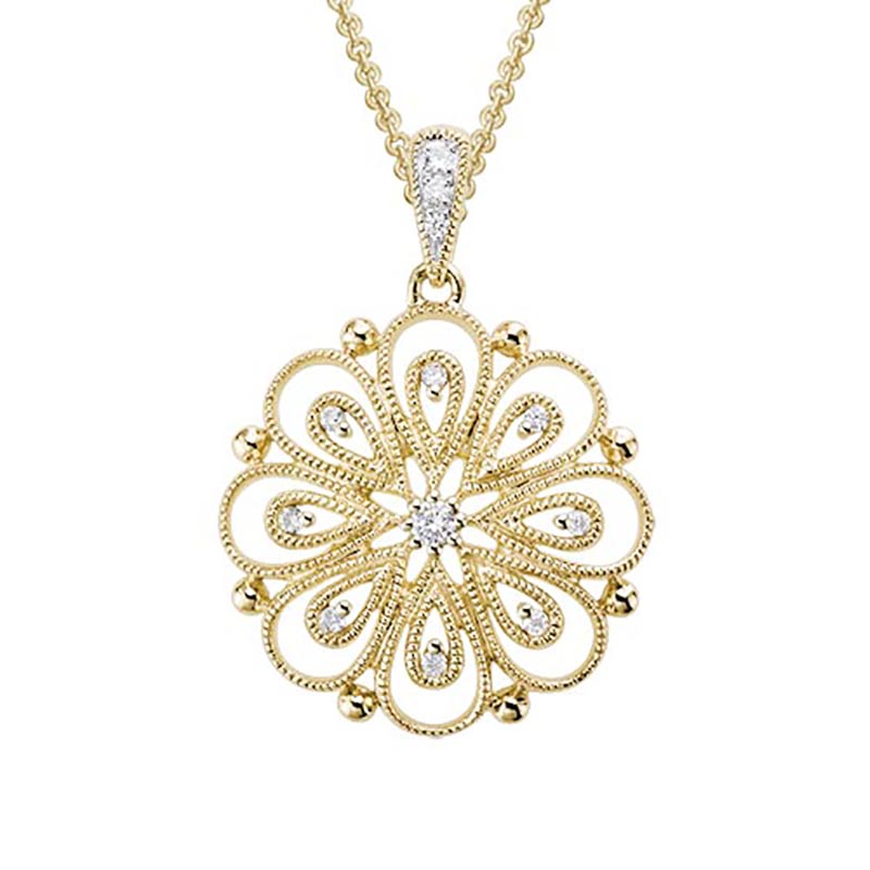 14K Filigree Diamond Pendant
