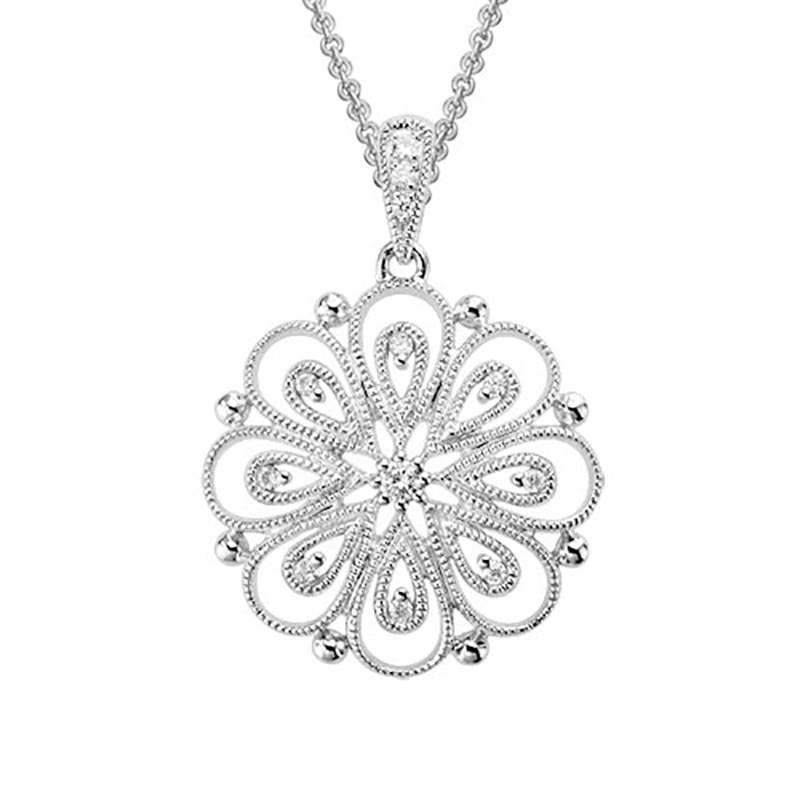 White Gold Filigree Diamond Pendant