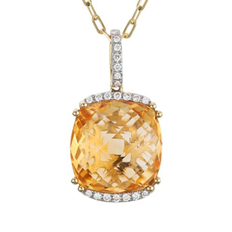 Cushion Cut Citrine and Diamond Pendant