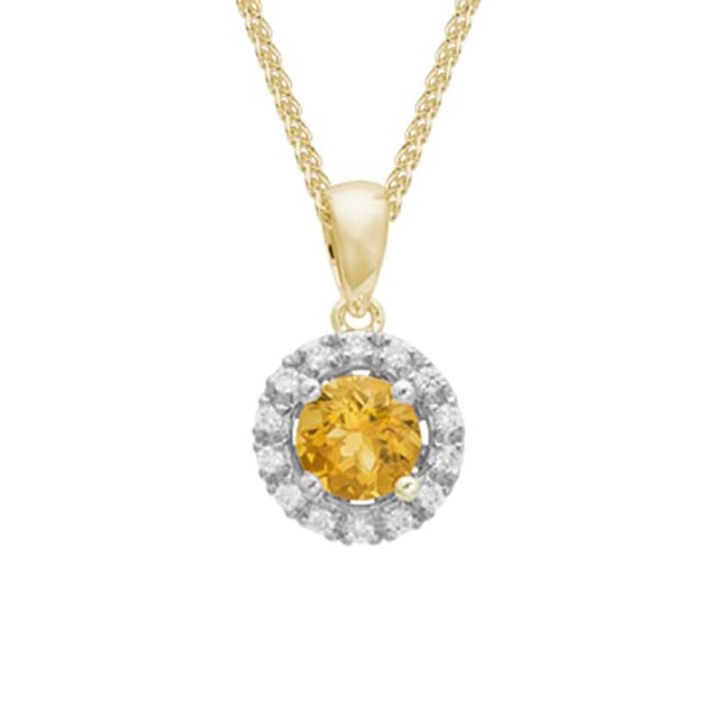 Citrine and Diamond Halo Pendant