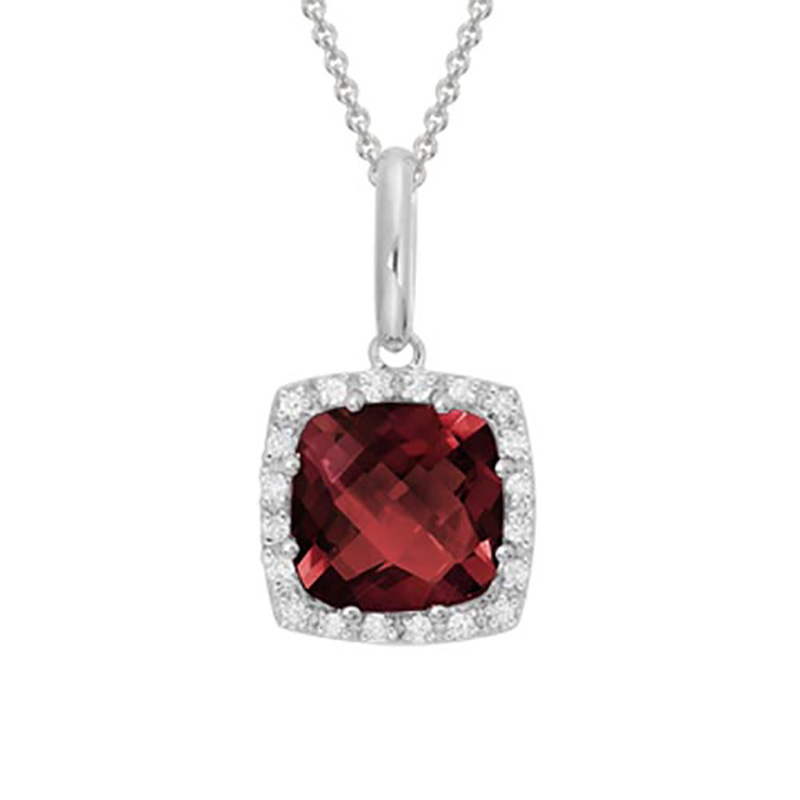 Cushion Cut Garnet Pendant