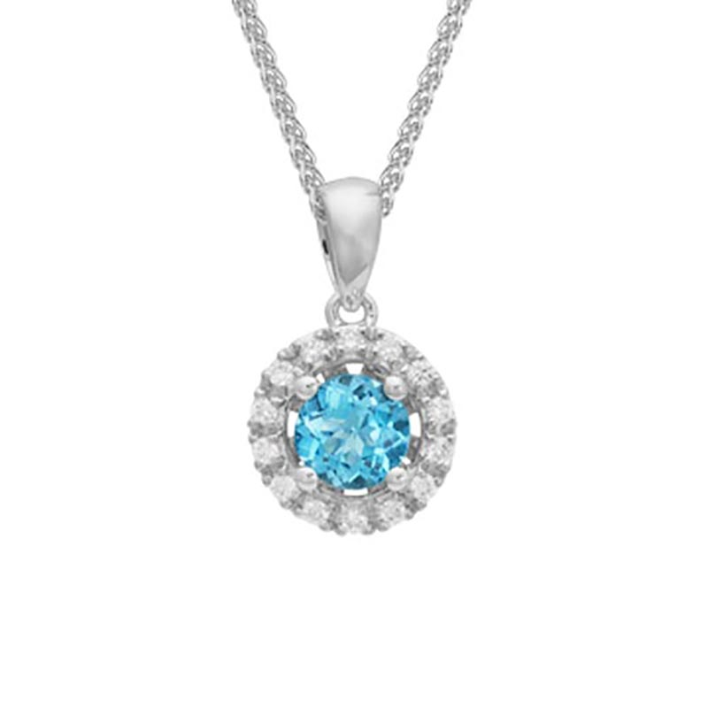 Blue Topaz  Diamond Halo Pendant