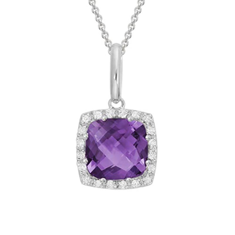 Cushion Cut Amethyst Pendant