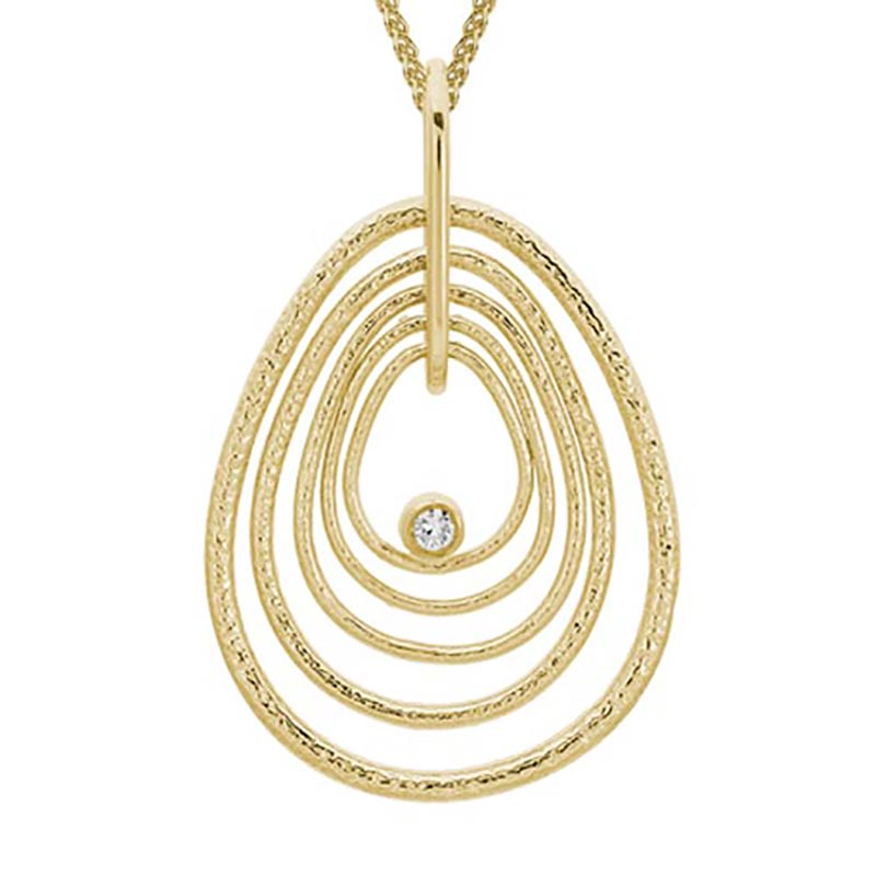 Gold Textured Pear Shape Pendant