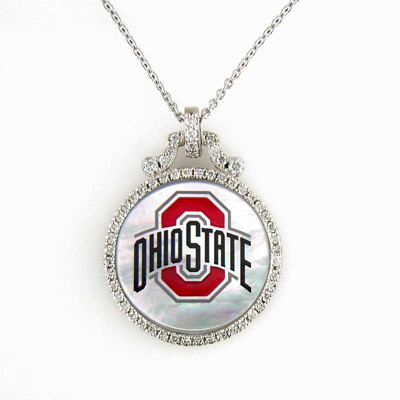 OSU Mother of Pearl and Diamond Pendant
