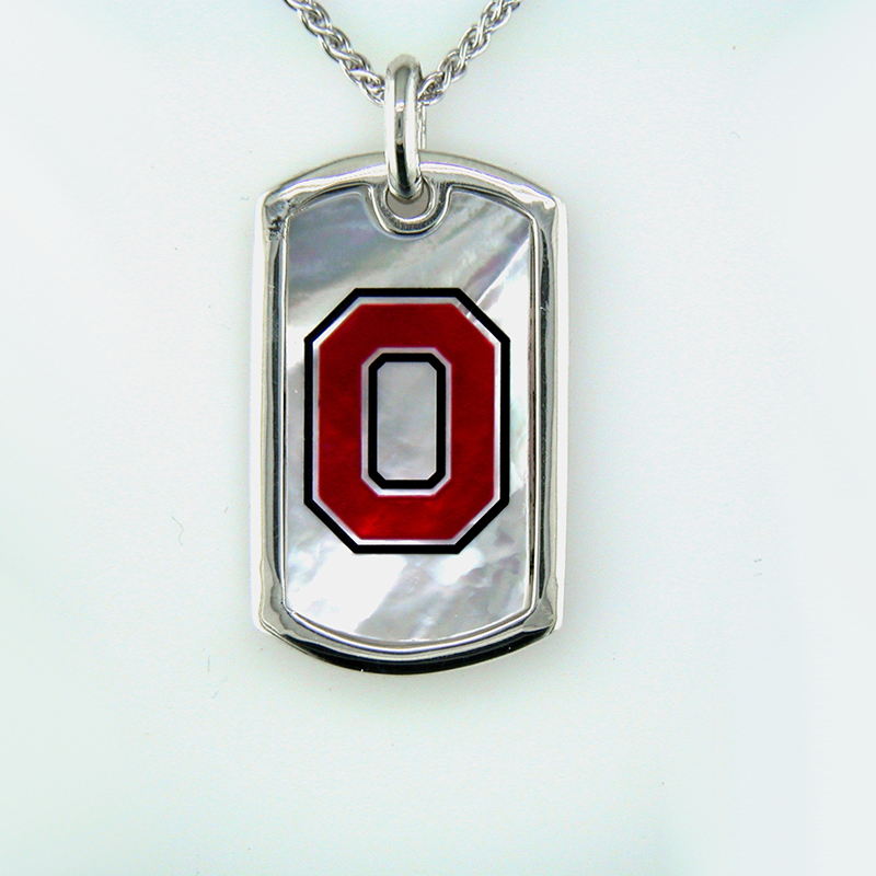 OSU Mother of Pearl Dog Tag Pendant