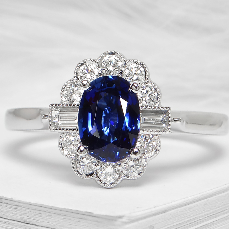 Oval Sapphire Baguette Diamond Halo Ring