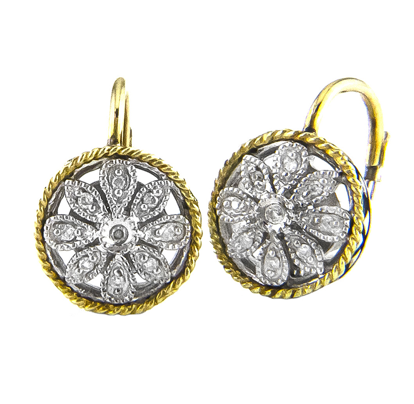 Sterling Floral Round Drop Earrings