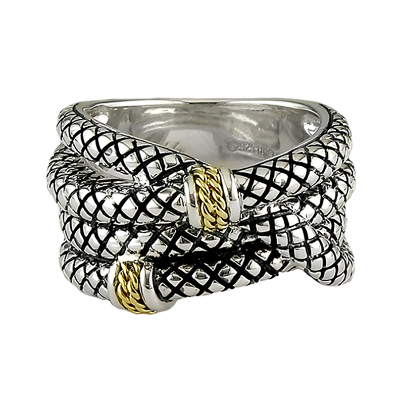 Sterling & 18K Crosshatch Ring