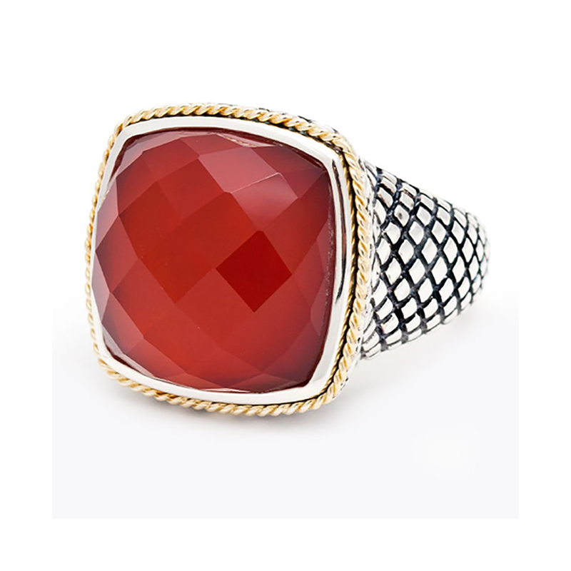Sterling & 18K Red Agate Ring
