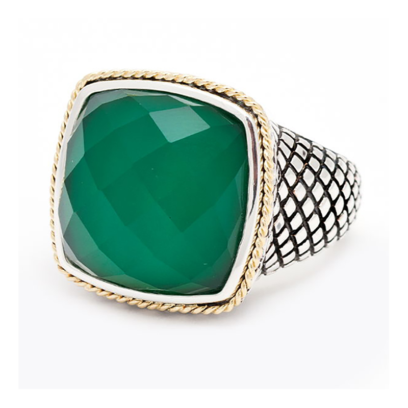 Sterling & 18K Green Agate Ring