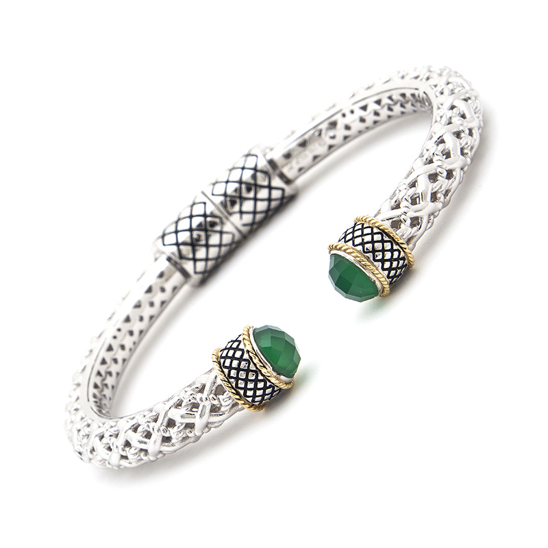 Sterling & 18K Green Agate Hinged Cuff
