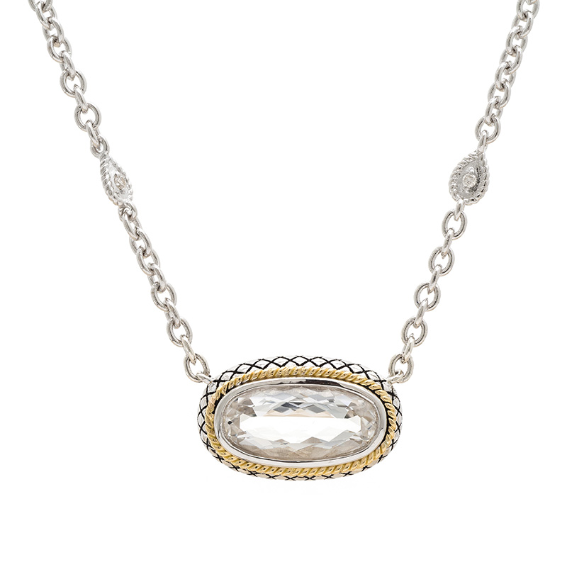 Sterling & 18K White Topaz Necklace