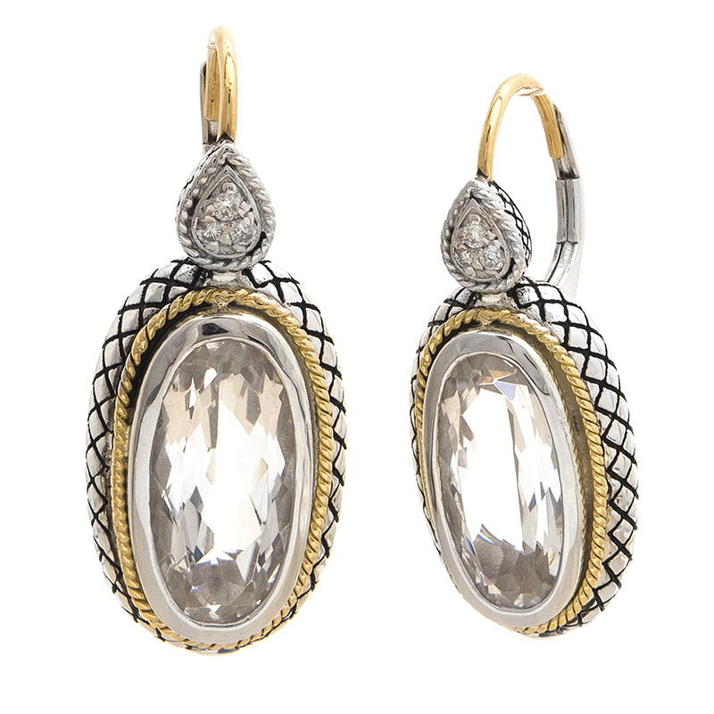 Sterling & 18K White Topaz Earrings