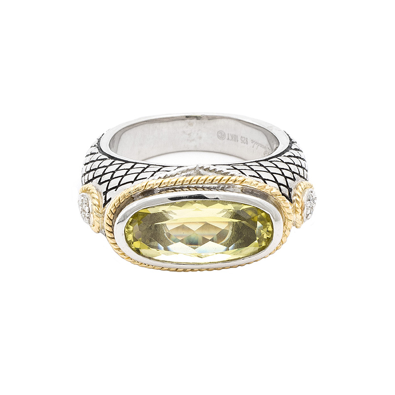 Sterling & 18K Lemon Quartz Ring