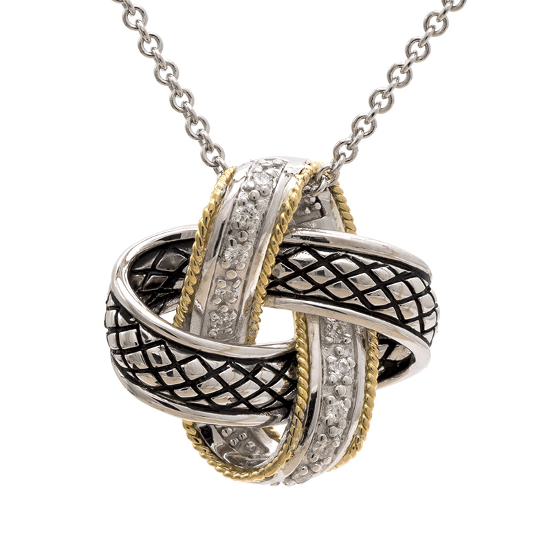 Sterling & 18K Love Knot Necklace