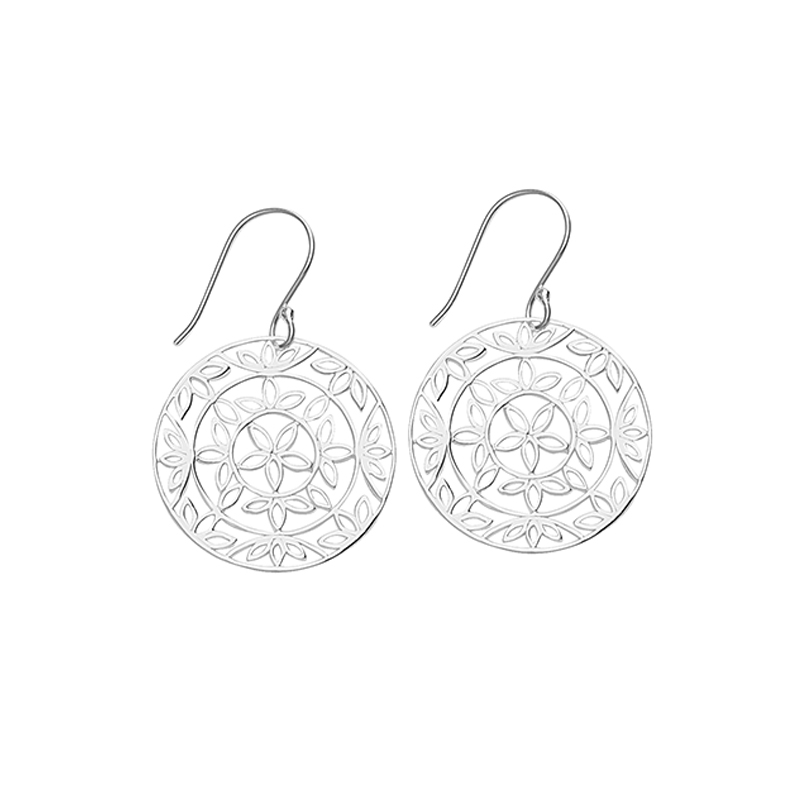 Lotus Flower Dangle Earrings