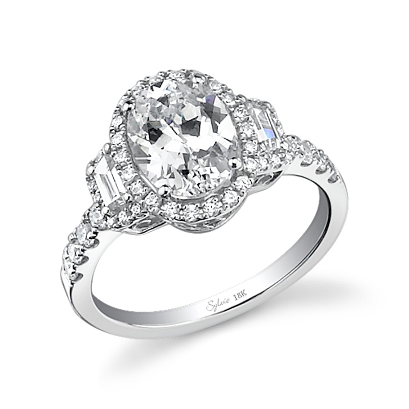 Oval Baguette Halo Diamond Engagement Ring