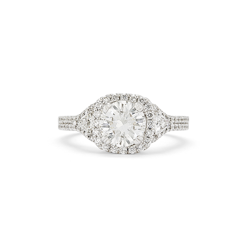 Cushion Halo Trillion Accent Diamond Engagement Ring