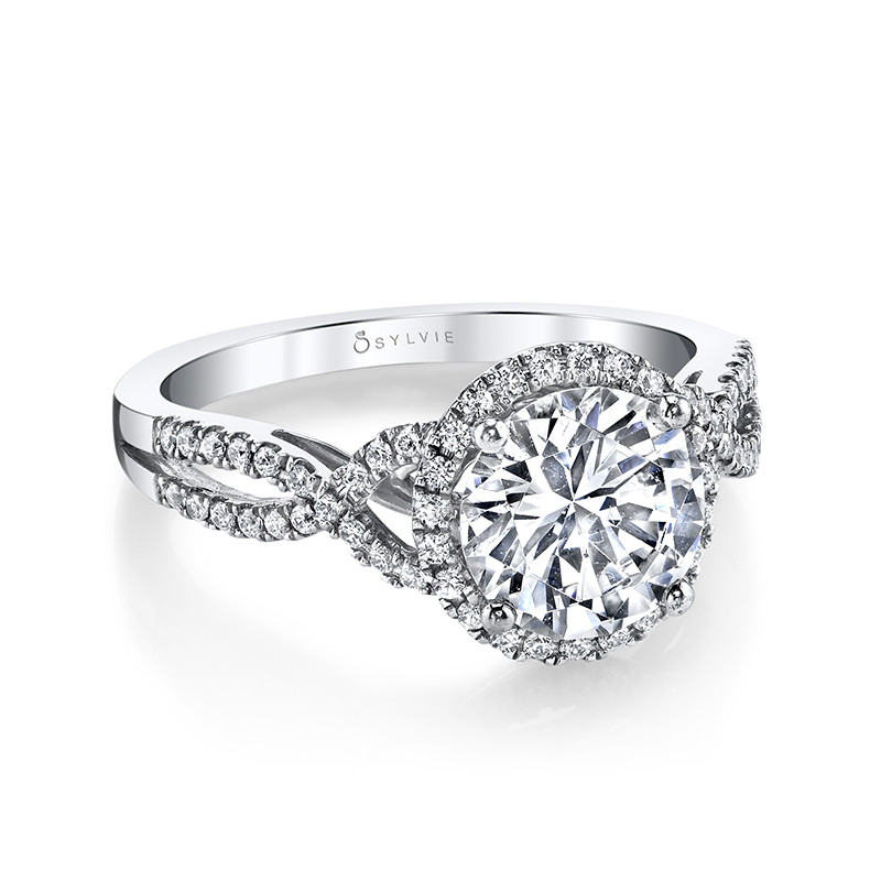 Round Halo Twist Diamond Engagement Ring Leo Alfred Jewelers