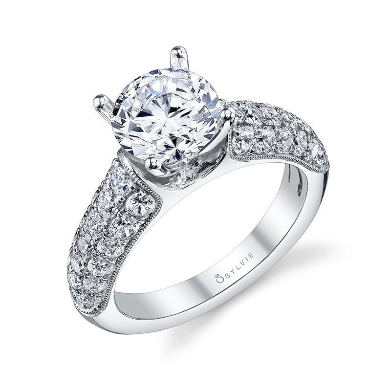 Bold Pavé Diamond Engagement Ring