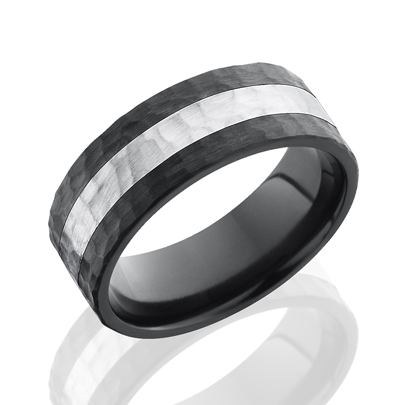 Zirconium & Sterling Hammered Band