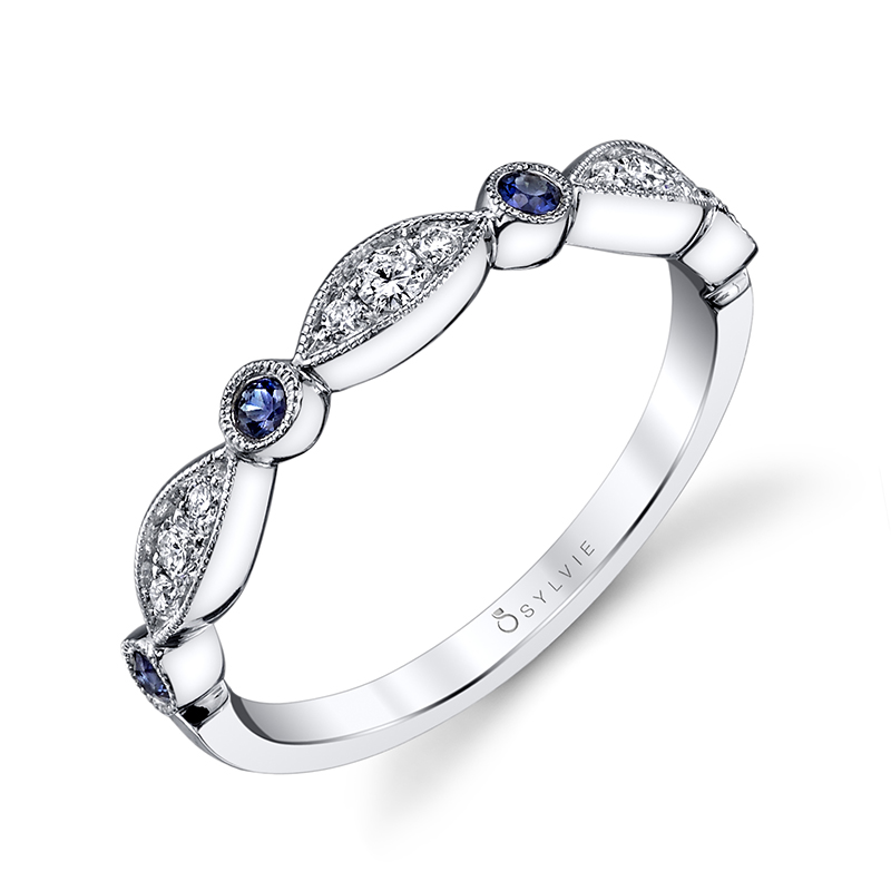 Round Sapphire and Marquise Shape Diamond Band