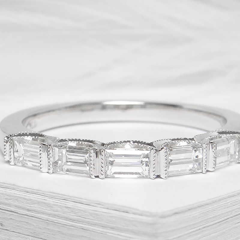Milgrain Baguette Diamond Band